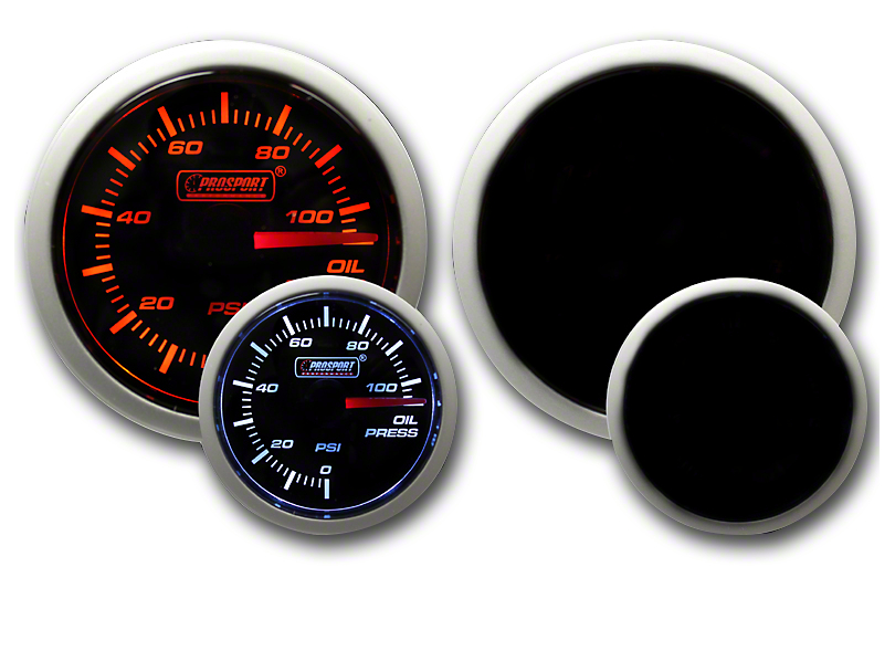 Prosport 52mm Performance Series Oil Pressure Gauge; Electrical; Amber/White (Universal Fitment)