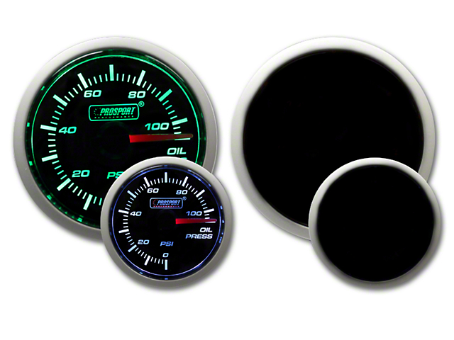 Prosport 52mm Performance Series Oil Pressure Gauge; Electrical; Green/White (Universal Fitment)