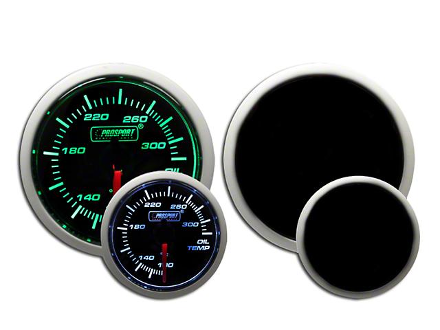 Prosport Dual Color Oil Temperature Gauge - Green/White (Universal Fitment)