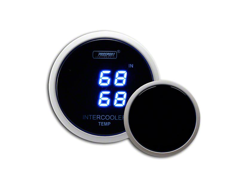 Prosport 52mm Digital Dual Intercooler Air Temperature Gauge; Blue (Universal Fitment)