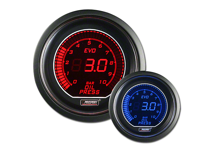 Prosport 52mm EVO Metric Series Oil Pressure Gauge; Electrical; 0-10 BAR; Blue/Red (Universal Fitment)