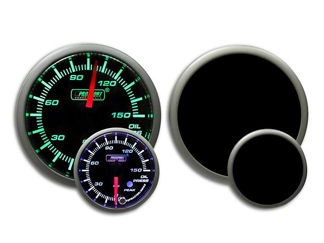 Prosport 52mm Premium Series Oil Pressure Gauge; Electrical; 0-150 PSI; Green/White (Universal Fitment)