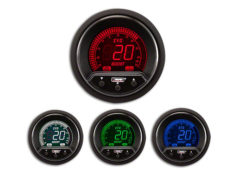 Prosport 52mm Premium EVO Series Evo Boost Gauge; Electrical; 35 PSI; Blue/Red/Green/White (Universal Fitment)
