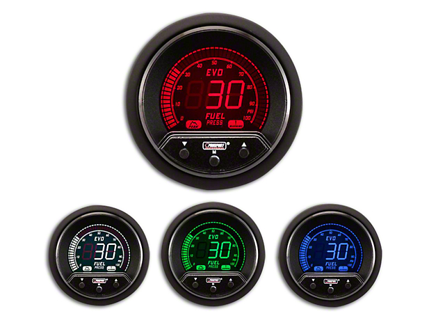 Prosport 52mm Premium EVO Series Fuel Pressure Gauge; Electrical; Blue/Red/Green/White (Universal Fitment)