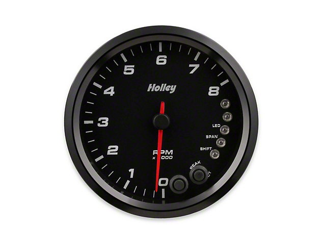 Holley Performance 4.50-Inch Analog-Style Tachometer; 0-8K; Black (Universal Fitment)