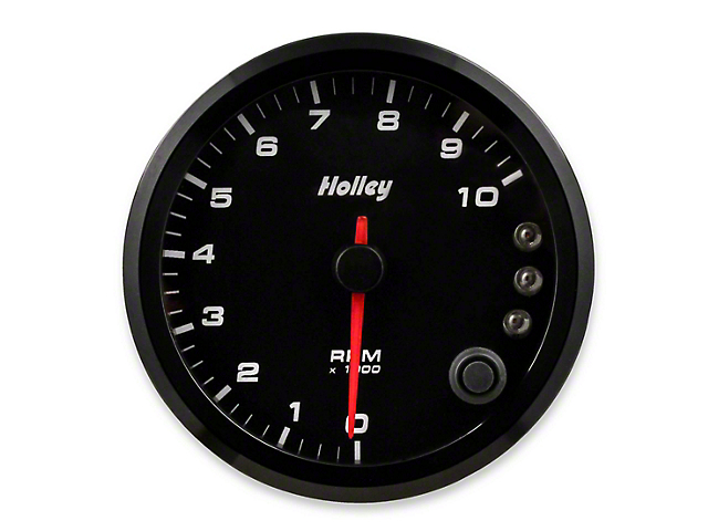 Holley Performance 3-3/8-Inch Analog-Style Tachometer; 0-10K; Black (Universal Fitment)