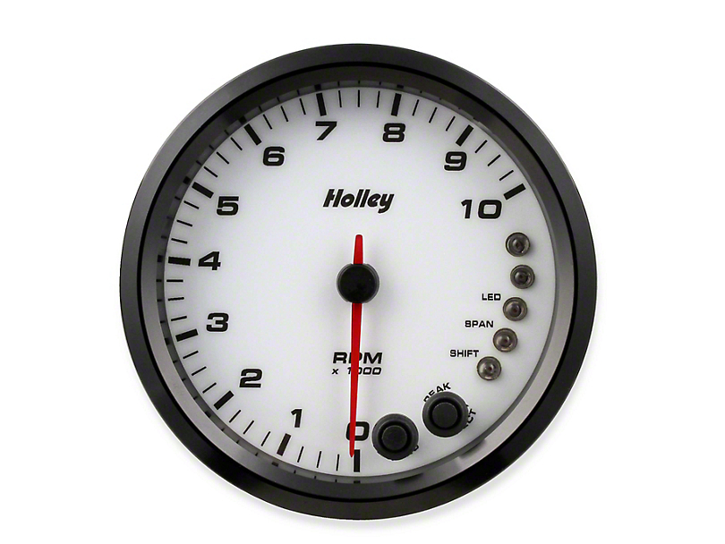 Holley Performance 4.5 in. Analog-Style 0-10K Tachometer - White (Universal Fitment)