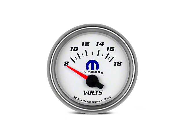 Mopar 2-1/16 in. Voltmeter Gauge - Electrical - White (08-19 All)