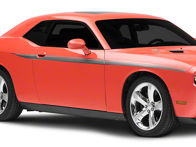 American Muscle Graphics Side Stripes; Silver (08-20 All)