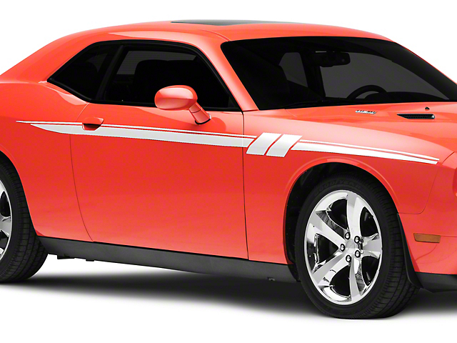 American Muscle Graphics Side Stripes with Hash Marks; White (08-20 All)