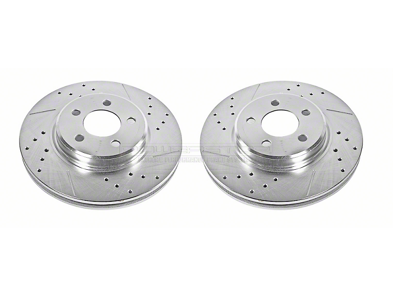 Power Stop Evolution Cross-Drilled & Slotted Rotors - Front Pair (09-10 SE; 11-20 SE, SXT w/ Single Piston Front Calipers)