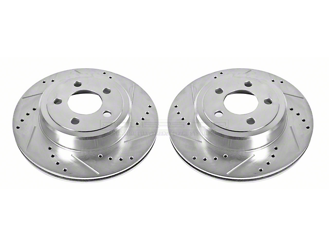 Power Stop Evolution Cross-Drilled & Slotted Rotors - Rear Pair (09-20 GT, R/T, T/A; 11-20 SE, SXT w/ Dual Piston Front Calipers)
