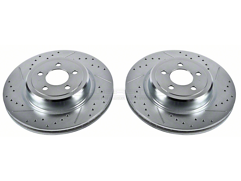 Power Stop Evolution Cross-Drilled & Slotted Rotors - Rear Pair (08-14 SRT8; 15-16 Scat Pack; 2017 R/T 392; 18-20 w/ 4-Piston Front Calipers)