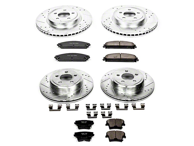 Power Stop Z23 Evolution Sport Brake Rotor and Pad Kit; Front and Rear (09-20 GT, R/T, T/A; 11-20 SE, SXT w/ Dual Piston Front Calipers)