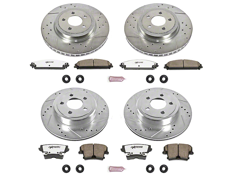 Power Stop Z26 Street Warrior Brake Rotor & Pad Kit - Front & Rear (09-20 GT, R/T, T/A; 11-20 SE, SXT w/ Dual Piston Front Calipers)