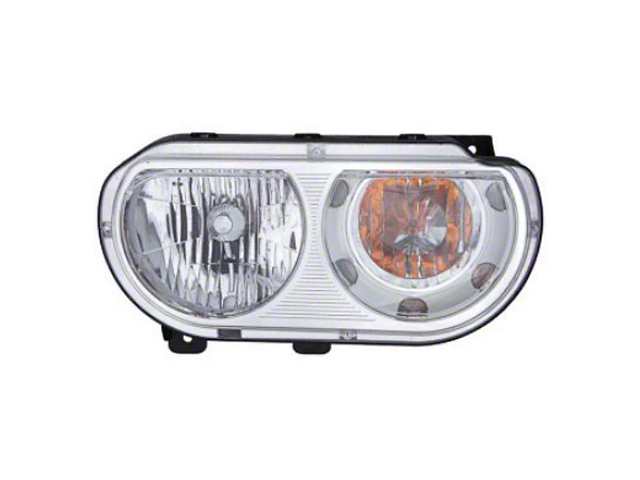 OPR Halogen Headlight; Chrome Housing; Clear Lens;; Passenger Side (08-14 w/o Factory HID Headlights)
