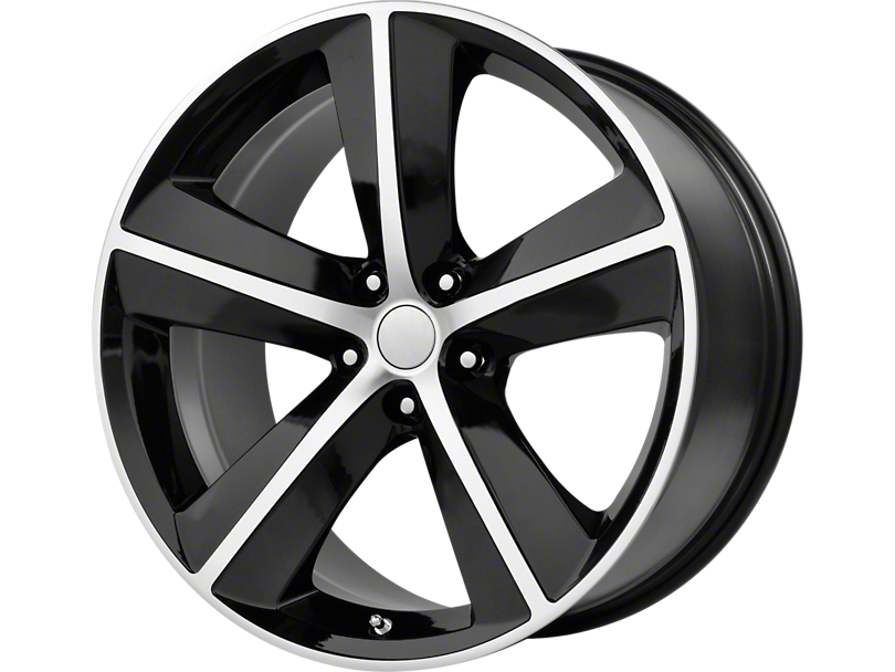 SRT8 Style Gloss Black Machined Wheel; 20x9 (08-20 All, Excluding Demon & Hellcat)