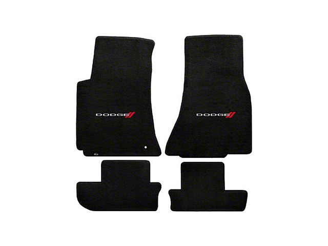 Lloyd Velourtex Front and Rear Floor Mats with Dodge Logo; Black (08-10 All)