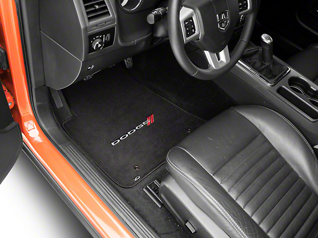 Lloyd Velourtex Front Floor Mats with Dodge Logo; Black (11-20 All, Excluding AWD)