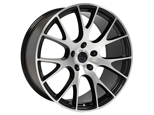 Hellcat Style Gloss Black Machined Wheel; Rear Only; 20x10 (08-20 All, Excluding AWD)