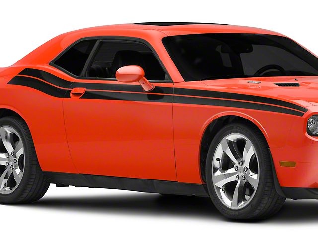 SEC10 R/T Style Beltline Stripes; Gloss Black (08-20 All)