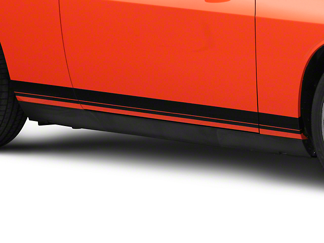 SEC10 Pinstriped Rocker Stripes; Gloss Black (08-21 All)