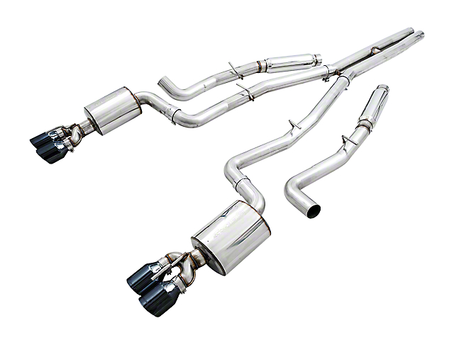 AWE Touring Edition Cat-Back Exhaust with Diamond Black Quad Tips; Resonated (15-20 6.2L HEMI)
