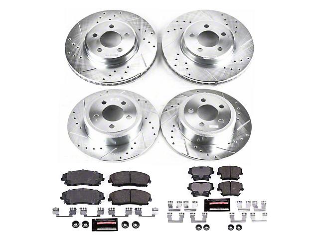 Power Stop Z23 Evolution Sport Brake Rotor and Pad Kit; Front and Rear (09-10 SE; 11-21 SE, SXT w/ Single Piston Front Caliper)