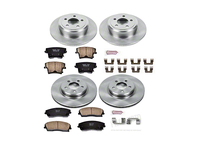 Power Stop OE Replacement Brake Rotor and Pad Kit; Front and Rear (09-10 SE; 11-21 SE, SXT w/ Single Piston Front Caliper)