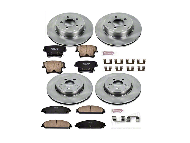 Power Stop OE Replacement Brake Rotor and Pad Kit; Front and Rear (09-21 GT, R/T, T/A; 11-21 SE, SXT w/ Dual Piston Front Caliper)