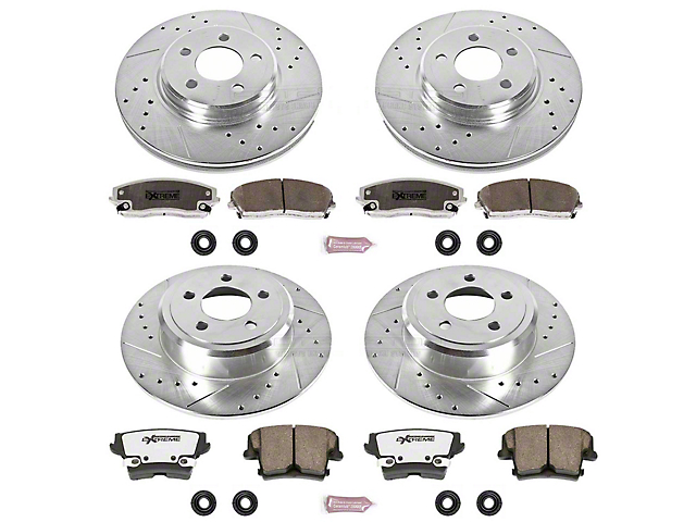 Power Stop Z26 Street Warrior Brake Rotor and Pad Kit; Front and Rear (09-10 SE; 11-21 SE, SXT w/ Single Piston Front Caliper)