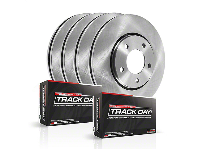 Power Stop Track Day Plus Brake Rotor and Pad Kit; Front and Rear (08-14 SRT8; 15-16 Scat Pack; 2017 R/T 392; 18-20 w/ 4-Piston Front Calipers)