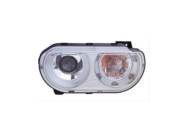 Halogen Headlight; Chrome Housing; Clear Lens; Passenger Side (08-14 w/o HID Headlights)