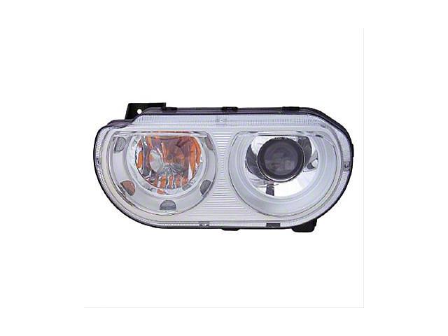 Xenon Headlight; Chrome Housing; Clear Lens; Driver Side (08-14 w/ HID Headlights)