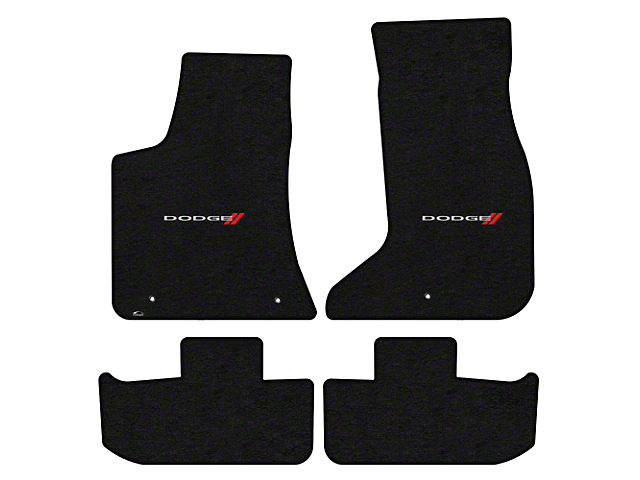Lloyd Velourtex Front and Rear Floor Mats with Dodge and Stripes Logo; Black (17-21 AWD)