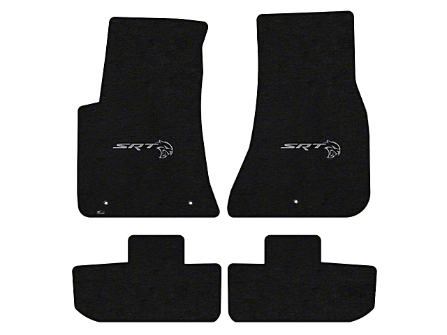 Lloyd Velourtex Front and Rear Floor Mats with Dodge Hellcat Redeye Logo; Black (11-21 All, Excluding AWD)