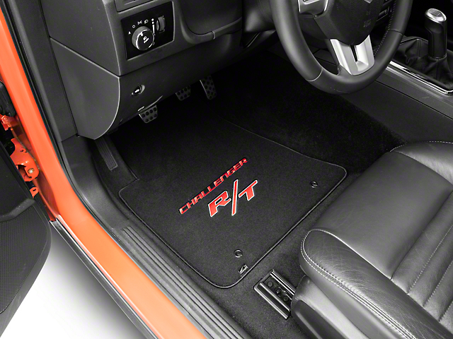 Lloyd Velourtex Front Floor Mats with Challenger and Red RT Logo; Black (11-21 All, Excluding AWD)