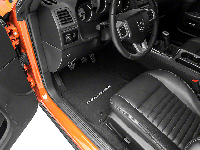 Lloyd Velourtex Front Floor Mats with Challenger Logo; Black (11-21 All, Excluding AWD)