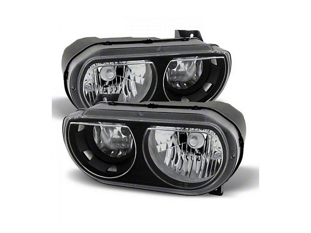 Euro Headlights; Black Housing; Clear Lens (08-14 w/o HID Headlights)