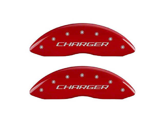 MGP Red Caliper Covers with Charger and R/T Logo; Front and Rear (11-21 R/T; 2014 Rallye Redline; 17-21 GT, T/A; 12-21 SXT w/ Dual Piston Front Caliper)