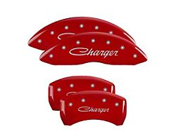 MGP Red Caliper Covers with Cursive Charger Logo; Front and Rear (11-21 R/T; 2014 Rallye Redline; 17-21 GT, T/A; 12-21 SXT w/ Dual Piston Front Caliper)