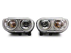 Oracle OE Style Headlights with Dynamic ColorSHIFT Halo; Chrome Housing; Clear Lens (08-14 w/ Factory HID Headlights)
