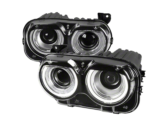 Projector Headlights; LED; Dual Halo; Black Housing; Clear Lens (15-21 Challenger)