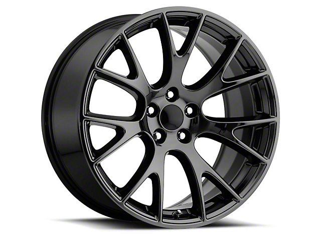 Hellcat Style Black Chrome Wheel; Rear Only; 20x10.5 (08-21 All, Excluding AWD & Demon)