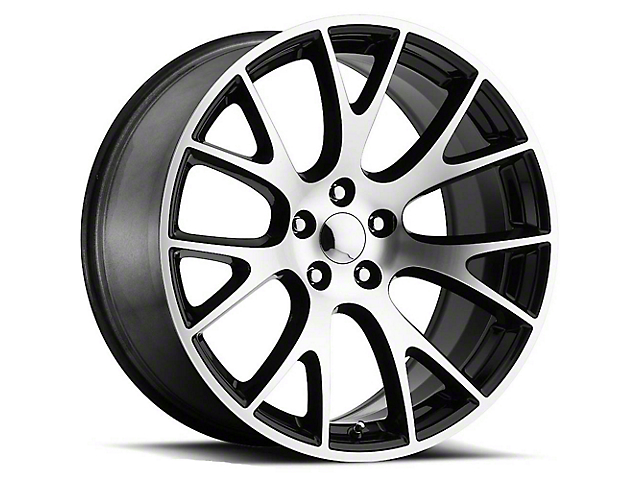 Hellcat Style Black Machined Wheel; 20x9.5 (08-21 All, Excluding AWD & Demon)