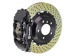 Brembo GT Series 4-Piston Front Big Brake Kit with 14-Inch 2-Piece Cross Drilled Rotors; Black Calipers (06-10 RWD, Excluding SRT8)