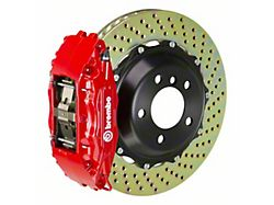Brembo GT Series 4-Piston Front Big Brake Kit with 14-Inch 2-Piece Cross Drilled Rotors; Red Calipers (06-10 RWD, Excluding SRT8)