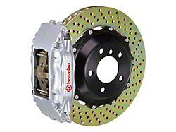 Brembo GT Series 4-Piston Front Big Brake Kit with 14-Inch 2-Piece Cross Drilled Rotors; Silver Calipers (06-10 RWD, Excluding SRT8)