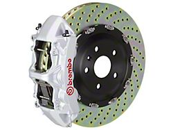 Brembo GT Series 6-Piston Front Big Brake Kit with 15-Inch 2-Piece Cross Drilled Rotors; Silver Calipers (06-10 5.7L HEMI RWD)