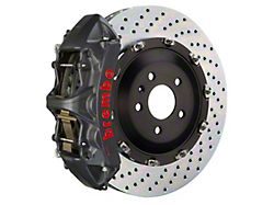 Brembo GT-S Series 6-Piston Front Big Brake Kit with 15-Inch 2-Piece Cross Drilled Rotors; Black Hard Anodized Calipers (06-10 5.7L HEMI RWD)